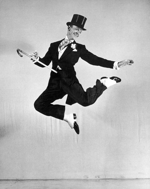 Fred Astaire executes a seemingly effortless leap in the 1946 film, Blue Skies.
