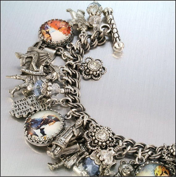 Charm Bracelet Peter Pan Neverland Tinkerbell by BlackberryDesigns, $87.00