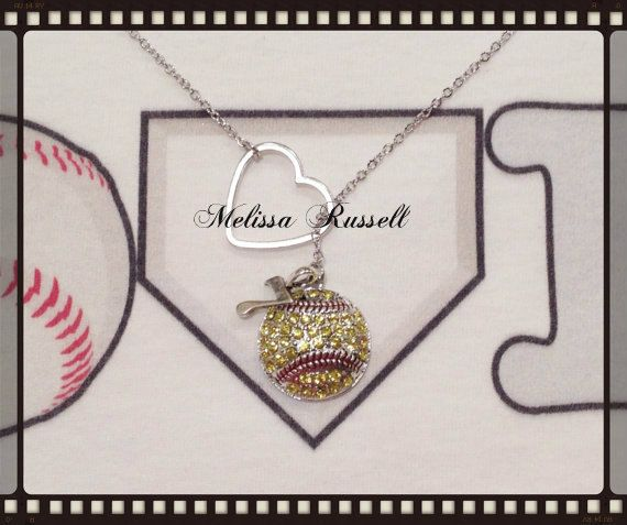 Softball Necklace with Rhinestones and by MelissaMarieRussell