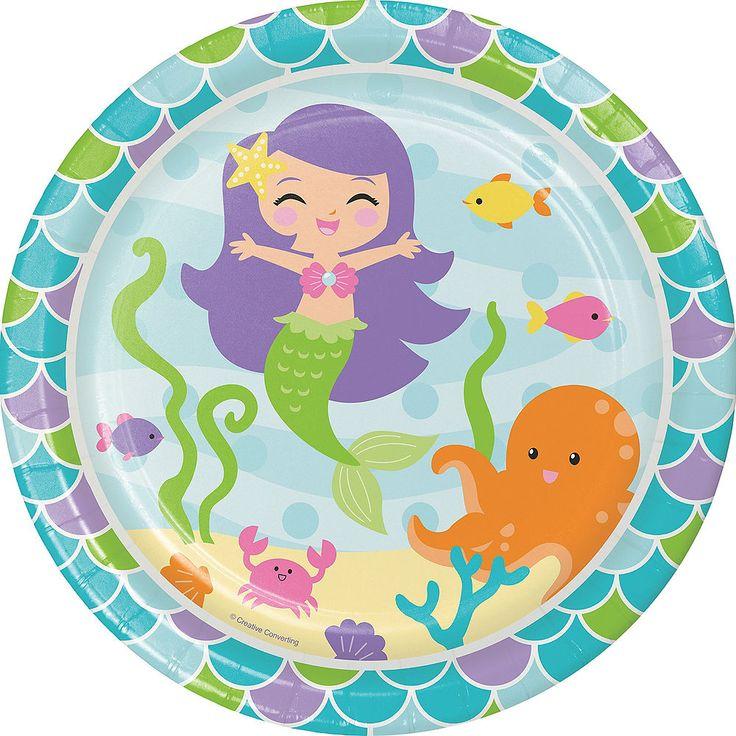 Friendly Mermaid Lunch Plates 8ct Party City Mermaid
