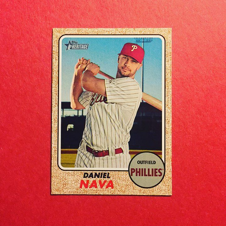 2017 Topps Heritage Daniel Nava Nava joined Andres Blanco Clay Buchholz and Hyun Soo Kim in declaring themselves free agents. I wish them all the best but in all honesty none of those 4 was to be a part of the Phillies future so best to just move along. I'll always carry the memory of Buchholz getting shelled by the Mets only to never pitch again and Blanco hitting a homer that his face on the outfield scoreboard. Good times. . . . #phillies #philadelphiaphillies #danielnava #topps #heritage…