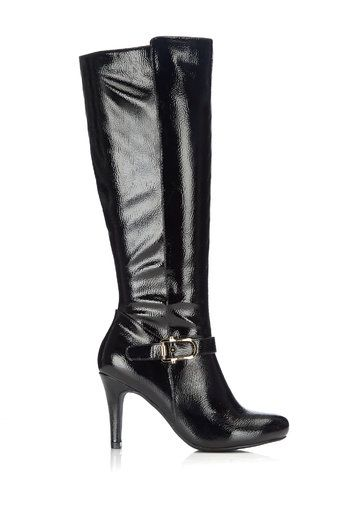 Black Patent Round-Toe Heeled High Leg Boot #MyChristmasStory