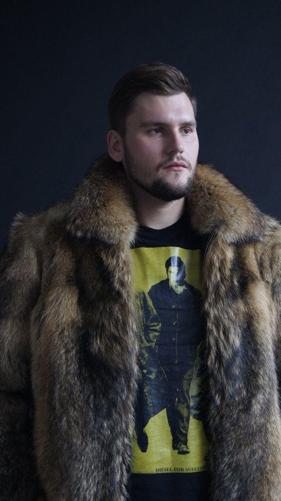 Brand new natural coyote fur jacket coat Mens jacket by EGFURS