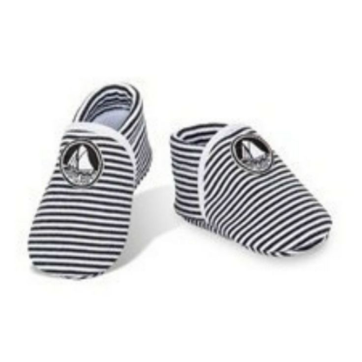 Petit Bateau Kid's Baby's shoes slip-on Black & white striped logo 100% cotton #PetitBateau #BabyShoes