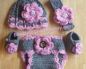 Mix and match! Crochet baby girl gift set, newborn girl hat, baby girl hat, diaper cover and matching booties. Newborn photo shoot.