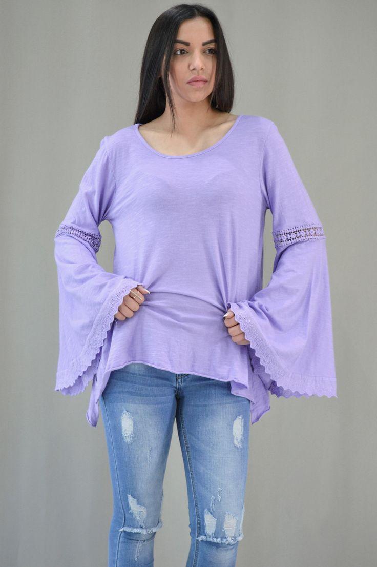 Γυναικεία μπλούζα με καμπάνα μανίκι MPLU-0895-lil | Μπλούζες > Λιλά