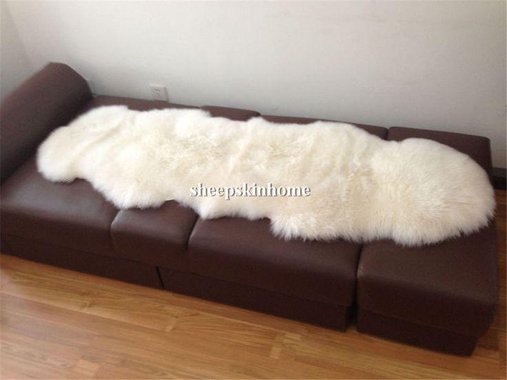 Free Shipping Genuine Australian Sheep Fur DOUBLE Pelt Large Sheepskin Rug 2 x 6 #DUMI #Modern