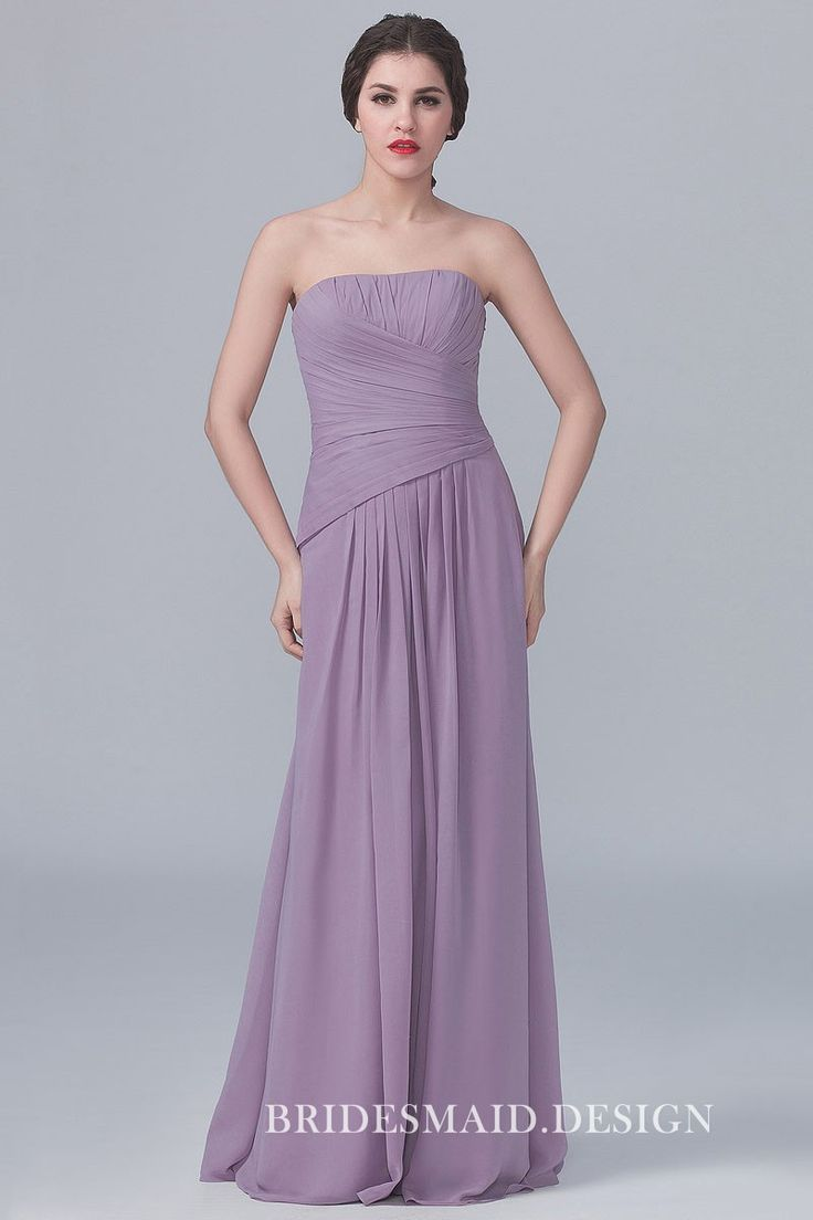 Strapless asymmetrical pleated simple lavender chiffon dress. Classic A-line long bridesmaid dress.