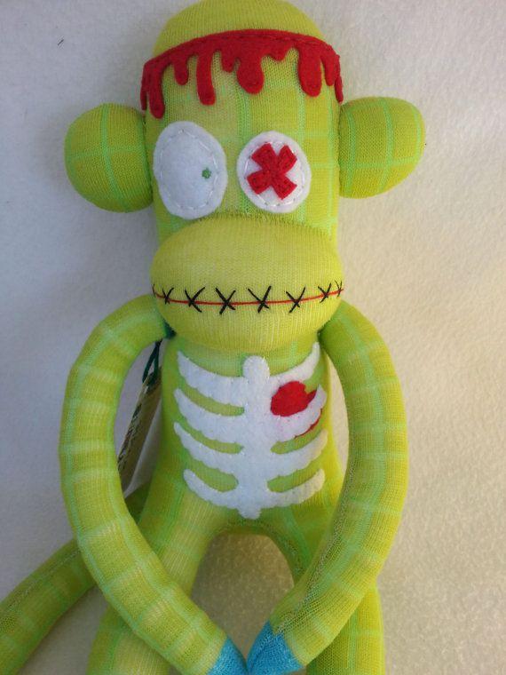 Zombie Sock Monkey  Grindle by MunkybunsSockToys on Etsy, $40.00