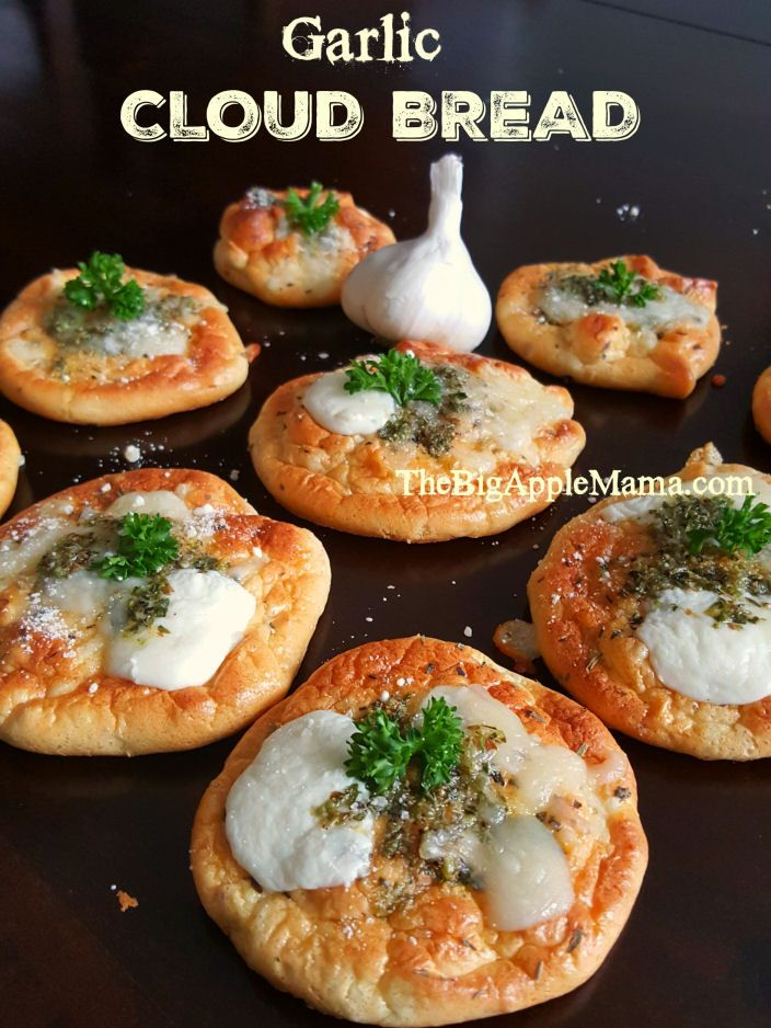 """Pinner says """"I made these today. They were a HUGE hit! This is the best Garlic Cloud Cloud bread recipe with only few ingredients and low carbs! Mmmm it melts in your mouth.. If you're garlic bread and cloud bread lover, you're going to LOVE these even more!"""""""