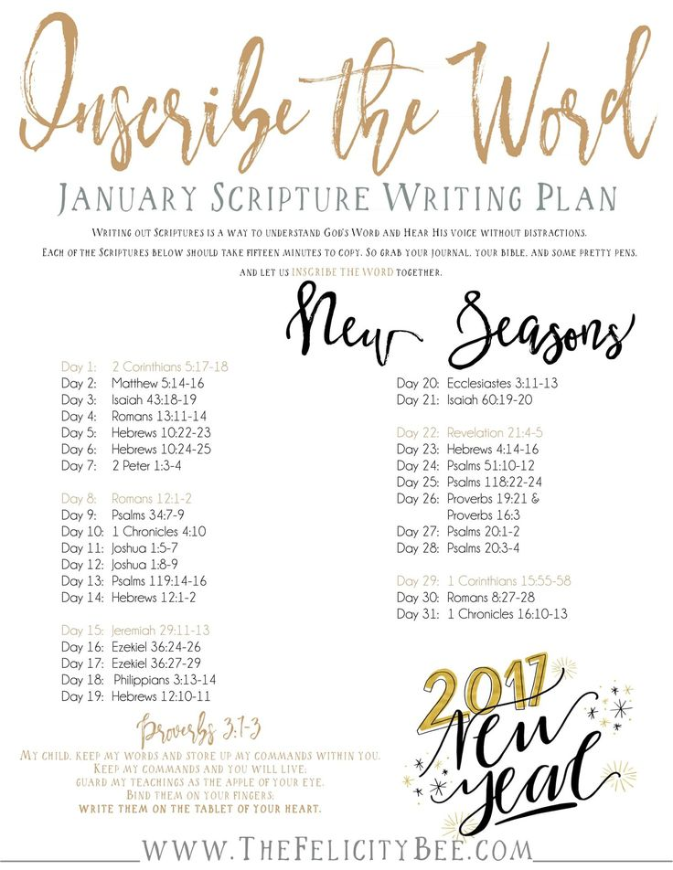 Inscribe the Word- January Scripture Writing Plan is here! In this months Bible Study, we are studying what the Word has to say about NEW SEASONS and how God brings us new seasons to bring us into His divine plan!  I pray that you join us over at The Felicity Bee as we hear God in a fresh new way!