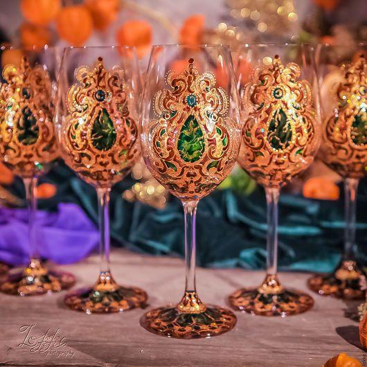 Бокалы, стаканы ручной работы. Ярмарка Мастеров - ручная работа. Купить Винные бокалы - Индия изумруд. Handmade. Подарок девушке