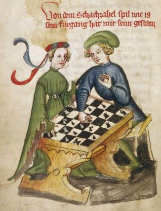 Un tablero de ajedrez de 6x6 sobre una mesa. Schachzabel, principios del siglo XV