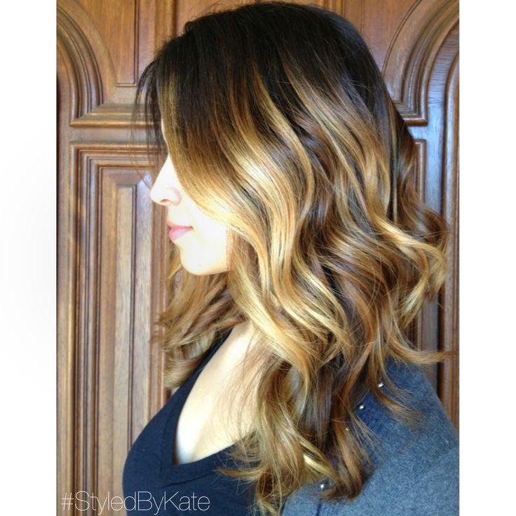 Face framing honey and platinum blonde Balayage highlights over long layered brunette curls. #StyledByKate 916-444-2136 Instagram: @StyledByKate_