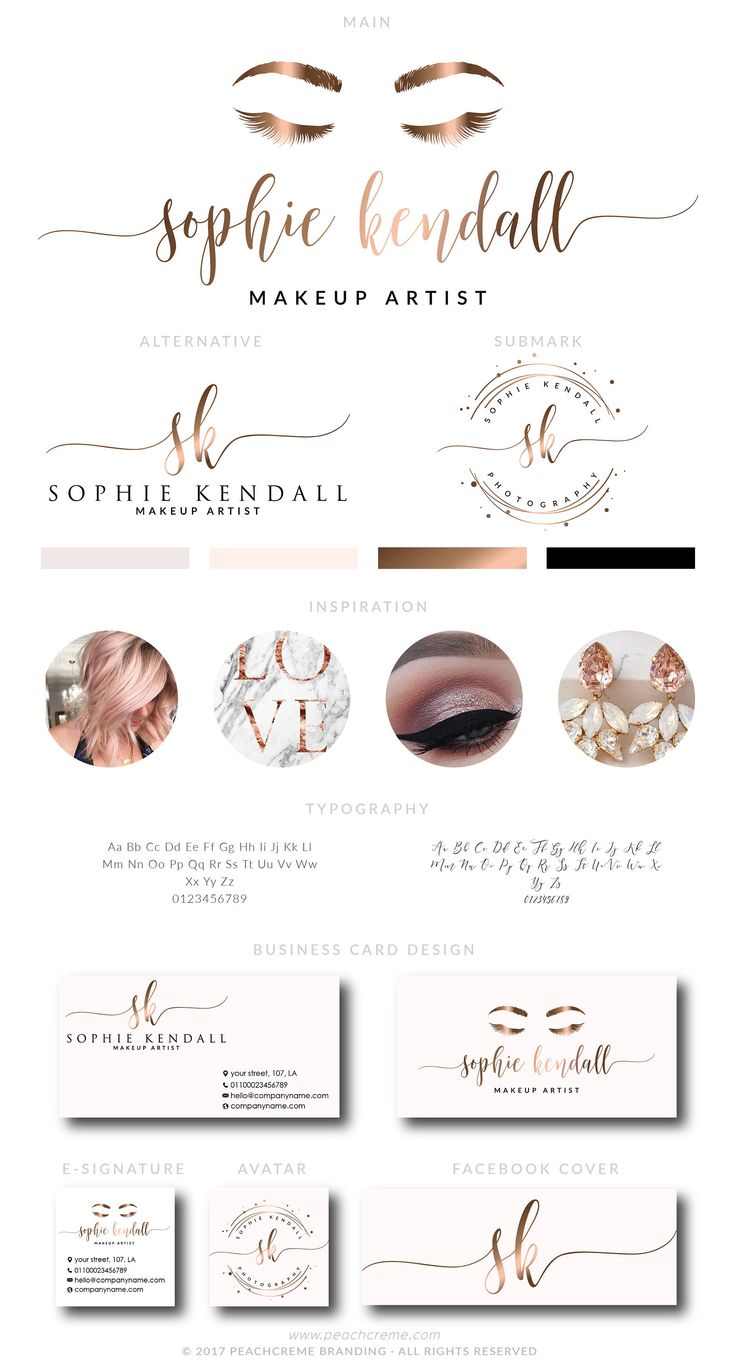 Makeup Logo Design, Lashes Logo Design, Rose gold Branding kit, Makeup Rose Gold makeup Branding Package, stamp,  Photography Logo watermark by PeachCreme on Etsy