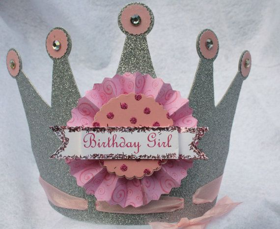 Happily Ever After Princess Crown in silver & pink Party Hat