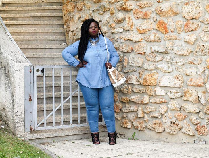 Moderne en total look Jean French Plus Size Fashion Blogger Gaelle Prudencio