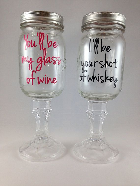Redneck Hillbilly Wine Glass Set, You'll be my glass of wine, I'll be your shot of whiskey, Bride/Groom Wedding Engagement Gift on Etsy, $24.00