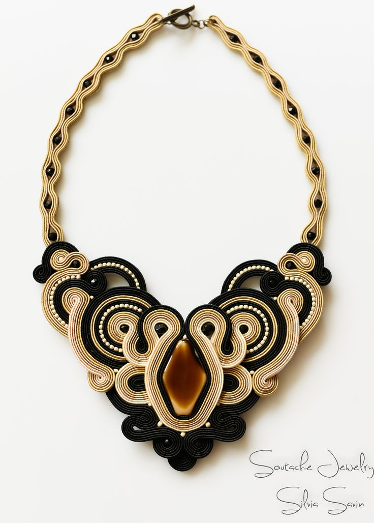 Shades of Beige/ Black Handmade Soutache necklace