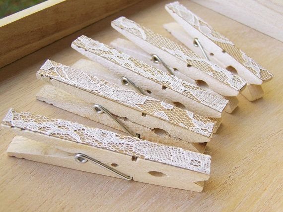 SALE Lace Clothespins Antique White DIY Wedding by theepapergirl, $6.40