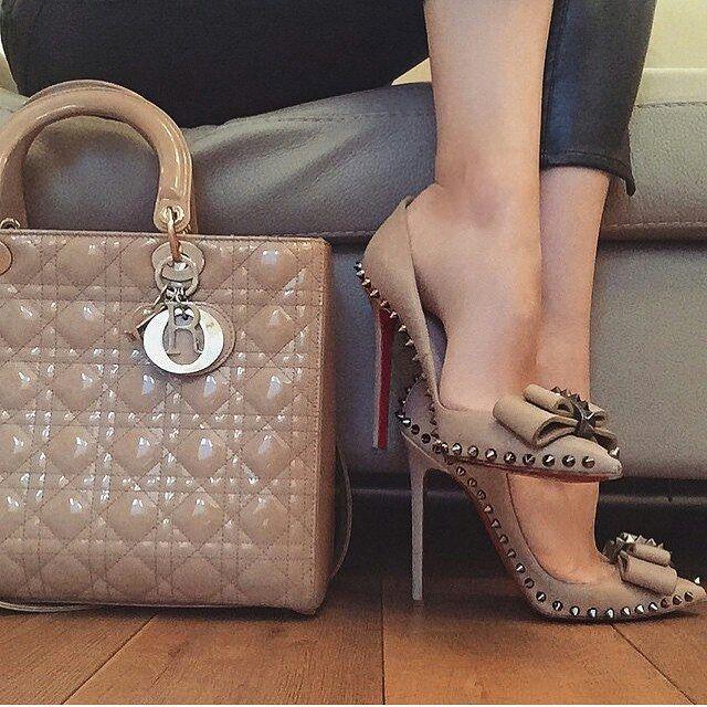 c6f5a2b640a Nude studded Christian Louboutin heels