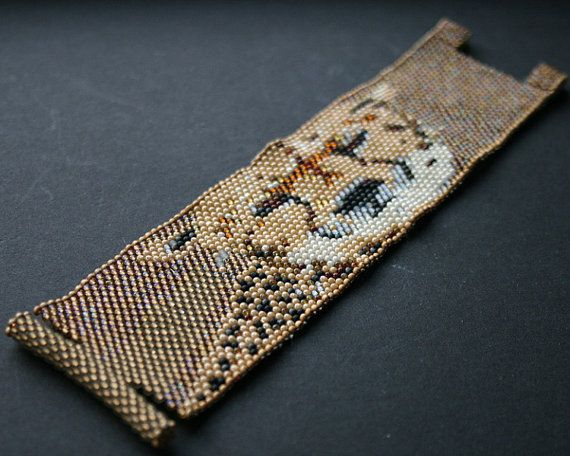 toho seed beads cuff bangle bracelet gold beige by koralikowyraj
