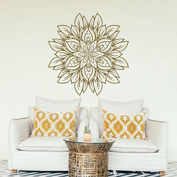 new flower mandala wall decal- gold mandala design vinyl decal