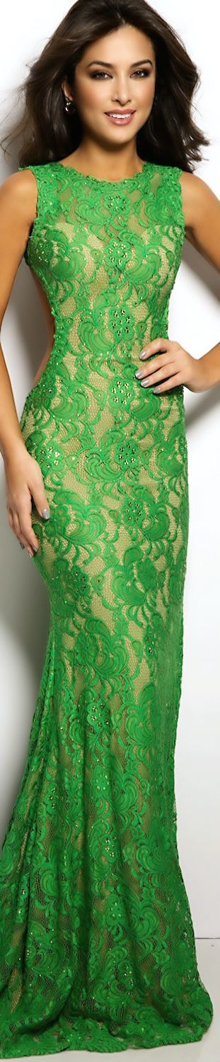Green Lace dress  women fashion outfit clothing style apparel @roressclothes closet ideas