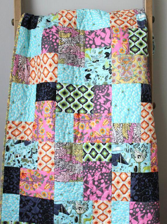 Modern Lap Quilt Pop Garden Quilt Modern Throw Quilt