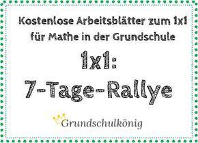 Teste Dein Wissen: 1x1-Rallye über 7 Tage Es gibt 7 Arbeitsblätter mit je 60 Aufgaben zum 1x1, für jedes Blatt gibt es 8 Minuten Zeit. Weniger als 5 Fehler? Auf geht's zum nächsten Blatt. Mehr als 5 Fehler? Probier's morgen einfach noch. Übung macht den Meister. #Einmaleins #1x1 #Grundschule #Mathe