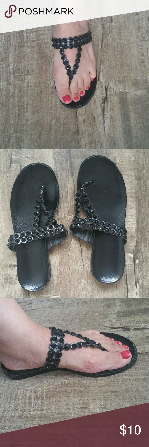 Reaction Black Rhinestone Sandals Rhinestones straps Good condition  Hardly Worn Reaction Shoes Sandals