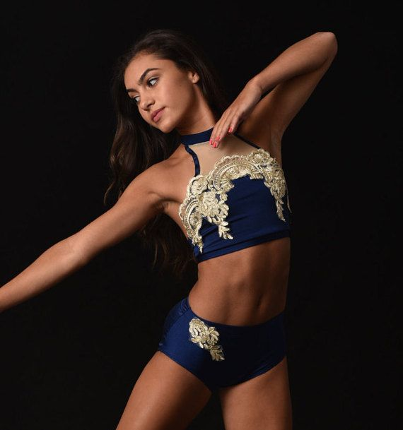 Navy contemporary dance costume w/Gold Dance by RougeDanceCostumes