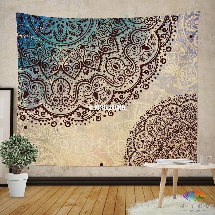M size Mandala Tapestry, Mehendy henna ethno mandala wall tapestries, bohemian tapestry, Indie vintage mandala decor