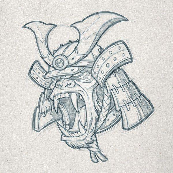 Samurai Gorilla Pencils Client Wip Samurai Sketch Pencils