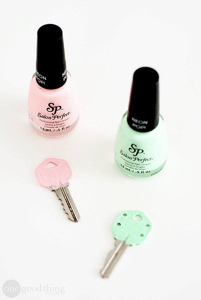 Make your keys easily identifiable by painting the ends with different colors of nail polish. This is very useful when a lot of your keys look the same!