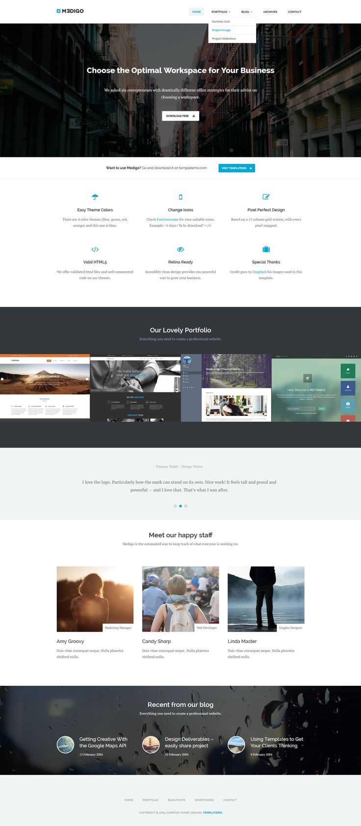 Medigo is a full-site responsive parallax template, 4 color themes (blue, green, red, orange). Drop down menu, multi-category portfolio and blog pages are included.