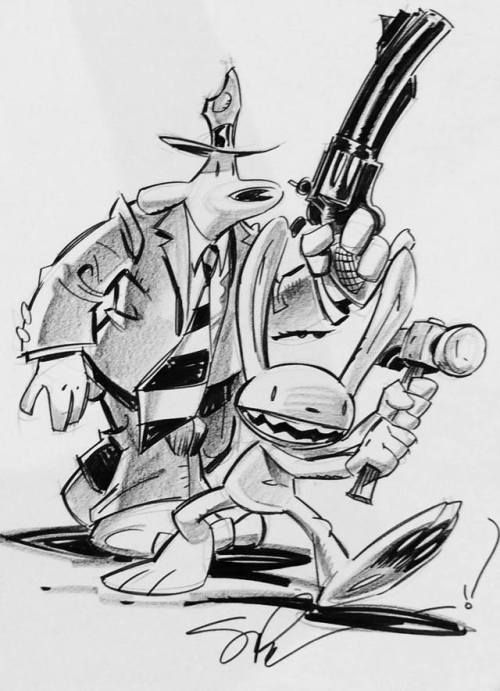 More SDCC 2017 Steve Purcell sketches: Sam and Max