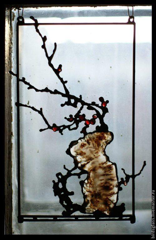 Купить Сакура весной. - розовый, сакура, Витраж, стекло, агат, олово