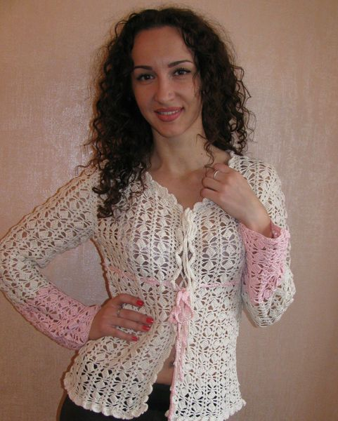 knitted sweater, jacket female, white blouse, Top  from Crocheted booties, blanket, exclusive garments are handmade   LyudmilaHandmade by DaWanda.com