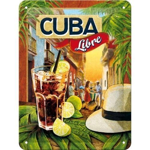 Cuba Libre Cocktail Rum Tiki Bar Pub Drink Retro Small 3D Metal Embossed Sign #NostalgicArt #VintageRetroClassicOldReproduction
