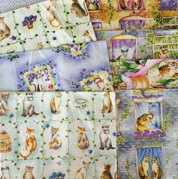 Chester Field Alley Collection Aunti Nan for Spectrix Fabric 7 Pcs Cats Kittens #Spectrix