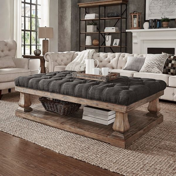 SIGNAL HILLS Knightsbridge Tufted Linen Baluster 60-inch   Ottoman - Love this ottoman ---- overstock.com (Family Room)