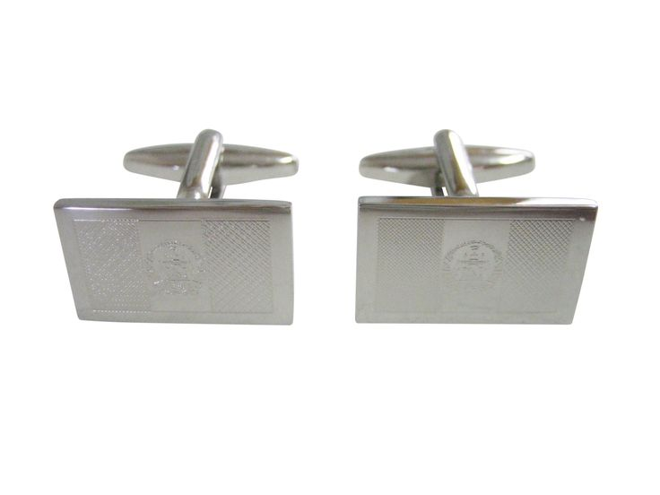 Silver Toned Etched Afghanistan Flag Cufflinks