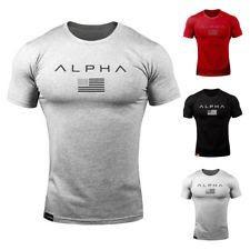 ALPHA Men Gym T Shirt Athlete Bodybuilding Fitness Mens Workout Trainig Clothes
