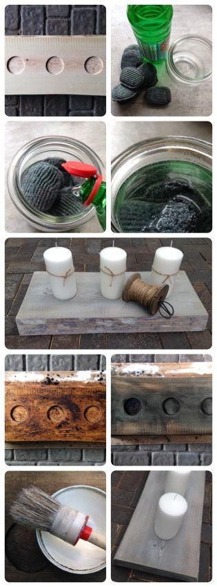 Holz altern lassen DIY Ein Stück neues Holz kannst du ganz einfach altern lassen- Stahlschränke 24 h in Essig einlegen. Kaffeepulver und kochendes Wasser dicklich aufkochen, mit dem Sud bestreichen, trocknen lassen. Danach das Kaffeepulver abbürsten. Das Holz mit der Essiglösung einpinseln und trocknen lassen... Das Holz verfärbt sich grau- eventuell mit weißem Antikwachs behandeln .