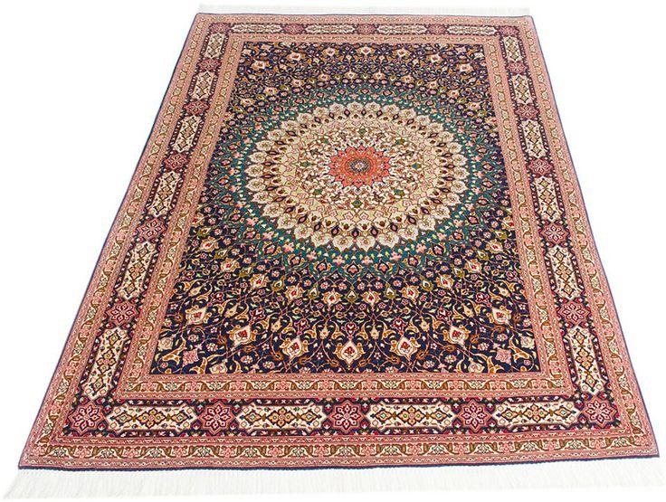 Orient-Teppich, Parwis, »Tabris Gombad«, handgeknüpft, Wolle, mit Seidenanteil, Unikat
