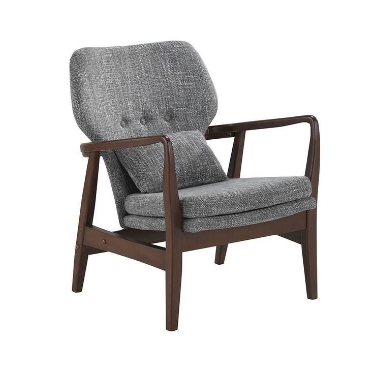 Baxton Studio Dobra Mid-century Modern Grey Fabric Upholstered Club Chair with Sleek Polished Walnut Finished Wood Arms