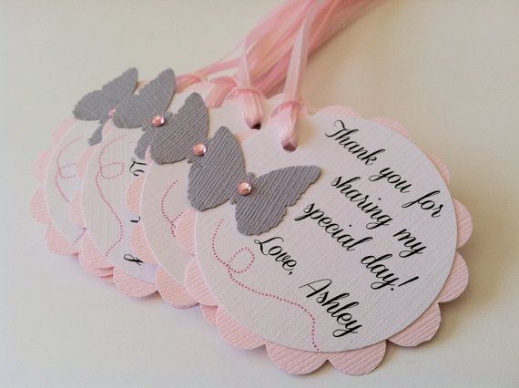 20 Pink and Grey Butterfly Scallop Tag. Personalized Favor Tags for Baby or Bridal Shower, Birthday, Baptism or Wedding. on Etsy, $27.00