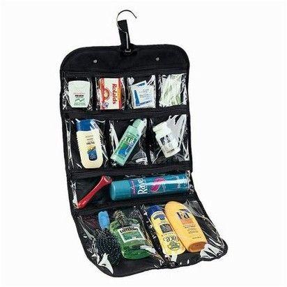 Household Essentials Nylon Hanging Cosmetics-Bag - Black