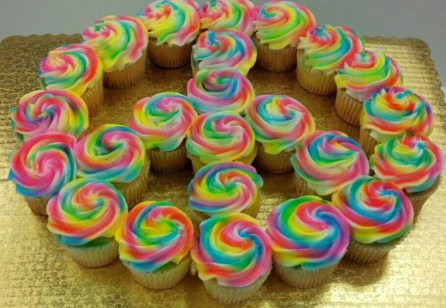 tie dyed peace sign cupcake pull a part